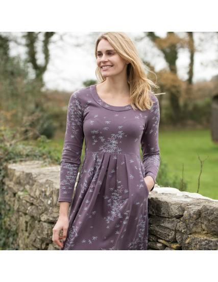 dámské šaty s motivem listu fialové BRAKEBURN