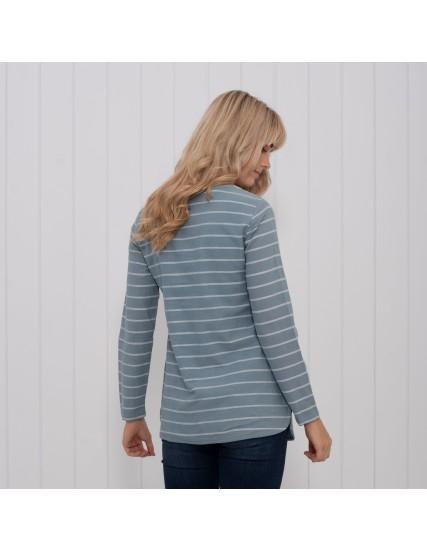 dámské pruhované triko s knoflíky BRAKEBURN