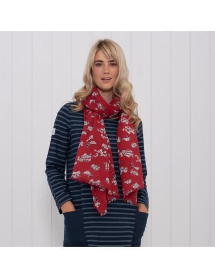 dámský šátek s motivem květin červený BRAKEBURN