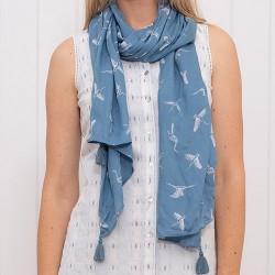 dámský šátek modrý kolibříci BRAKEBURN