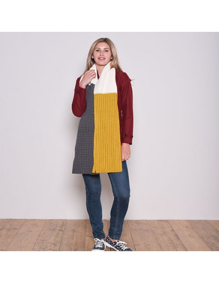 BRAKEBURN COLOUR BLOCK KNIT SCARF