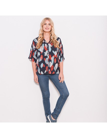 BRAKEBURN TEXTURED LEAF BLOUSE