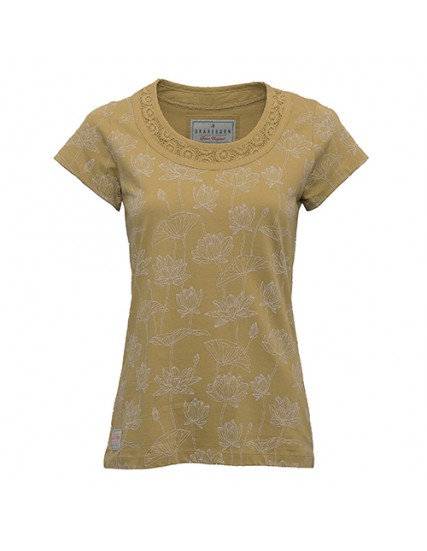 dámský top s motivem lotosu žlutý BRAKEBURN