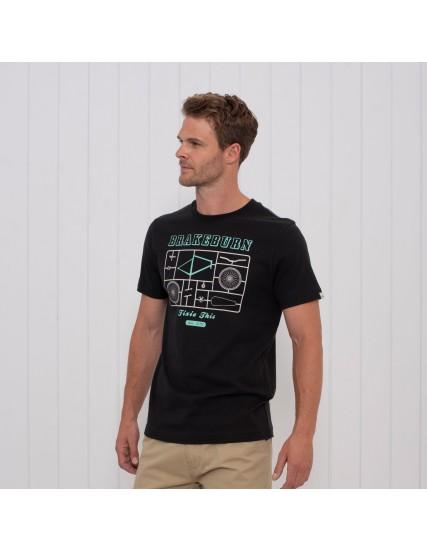 pánské tričko s motivem kola černé BRAKEBURN