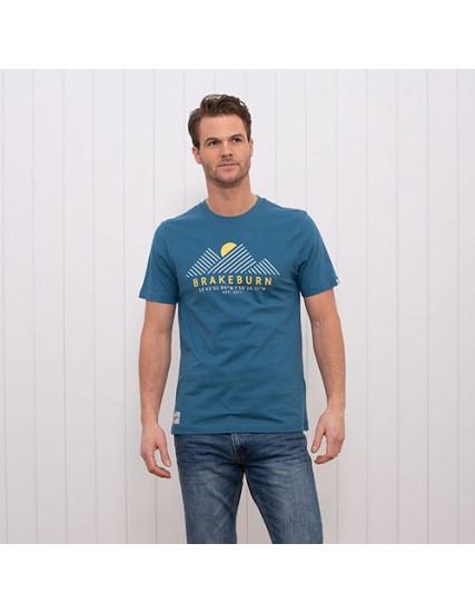 pánské tričko modré potisk hor BRAKEBURN